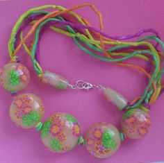 Fuschia Lime Green and Orange Floral Beads on Silk by ColieArt, $55.00
