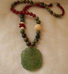 Green jade pendant w phoenixes & bat w opal necklace , beaded jewelry , carved carnelian bunny rabbit for fertility , jade pendant necklace by TheJadeMerchant on Etsy