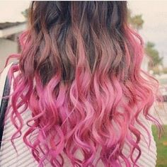 Ombre Hair pink & brown wavy...would look better pink and BLACK!