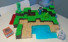 Minecraft blocks birthday cake