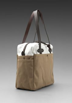 Canvas Zip Top Tote Bag in Tan/ White