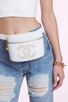 Vintage Chanel White Leather Belt Bag - Vintage Chanel Bags