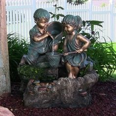 Boy & Girl Playing in Water Outdoor Water Fountain w/ LED Light by Sunnydaze Decor Free Shipping