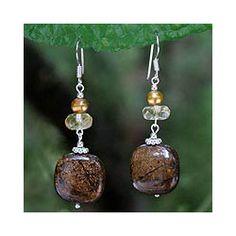 Earrings - Bronzite, Citrine & Golden Pearls in Sterling Silver (Handmade in Thailand)