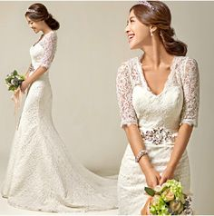 White Trailing Half Sleeve Wedding Dress White Lace Bridal Dress With Crystal The Bride Formal Gown miss evening E026