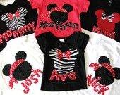 family disney shirts vacation pirate Mickey Minnie princess kid park world land red black tshirt matching