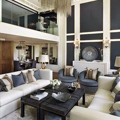 Could this @katharinepooleyltd living room be any more sophisticated? Its a hard ask. #luxdeco #katharinepooley #navy #cream #livingroom #decor #homedecor #interiordesign #luxuryinteriors #interiorinspiration #livingroominspo