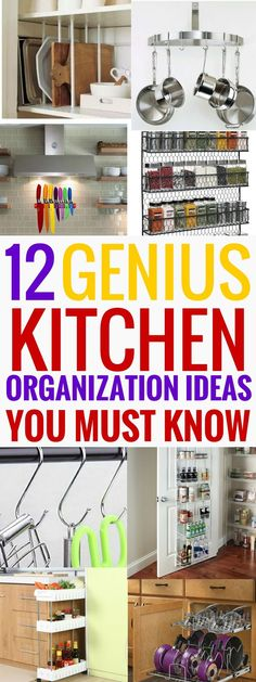 These kitchen organization ideas are THE BEST! I'm so glad I found these great organization ideas now I can declutter my kitchen and keep everything in order and easily accessible! Definitely pinning this! Declutter Your Home, Organizing Your Home, Organizing Tips, Cleaning Tips, Cleaning Checklist, Kitchen Organization, Organization Hacks, Organized Kitchen, Household Organization