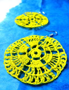 Yellow earrings crochet  navy's collection by Leccio51 on Etsy, €12,00