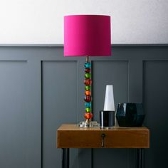 Sweetie table lamp in multi-coloured glass with tall tapered lampshade in teal velvet La Pile, Diy Recycle, Coloured Glass, Shop Lighting, Guest Bedrooms, Home Living Room, Decoration, Diy For Kids, Light Bulb