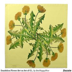 Dandelion Flower Art on Set of Cloth Table Napkins Dandelion Flower, Dining Decor, Dinner Napkins, Cloth Napkins, On Set, Flower Art, Flowers, Table, Clothes