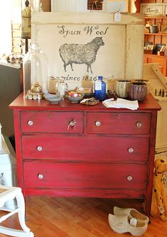 red paint, distress, walnut stain