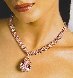 Round pink diamonds in necklace and  Flawless pear shape diamond.... 36.37 carats of pink diamonds