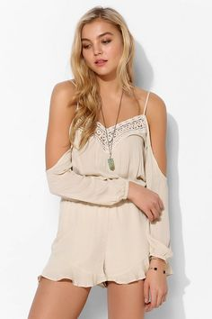 Ecote Off-The-Shoulder Crochet-Inset Romper #urbanoutfitters