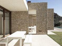 Patio, Stone Walls, Contemporary Home in Monasterios, Spain