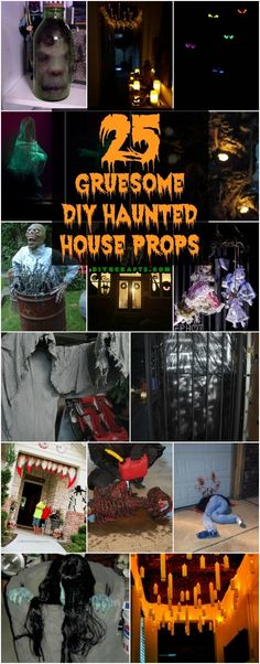 25 Gruesome DIY Haunted House Props To Make Your Halloween The Scariest Ever nearly Halloween! Do you know where your DIY projects are? Well, if looking to add some really gruesome and gory projects to your list, got just the thing for you. Scary Haunted House, Haunted House Party, Haunted House Decorations, Diy Haunted House Props, Halloween Haunted Houses, Haunted House For Kids, Haunted Maze, Best Haunted Houses, Haunted Forest