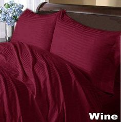 1200 TC 100%EGYPTIAN COTTON  UK ALL BEDDING ITEMS WINE STRIPE CHOOSE SIZE&ITEM