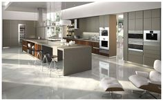 Modern grey kitchen with island modern gray kitchen modular cabinets kitchen island with seating built in . Modern Grey Kitchen, Kitchen Island With Seating, Modern Kitchen Cabinets, Modern Kitchen Design, Kitchen Furniture, Kitchen Interior, Kitchen Decor, Gray Cabinets, Minimal Kitchen