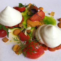 Chapter One restaurant in Dublin. Tomatoes with herbs and whipped feta by Irish uber chef Ross Lewis. One star Michelen Restaurant in Dublin. Chapter One Restaurant, Restaurants In Dublin, Michelin Star Food, Whipped Feta, Good Food, Yummy Food, Grubs, Caprese Salad, Uber