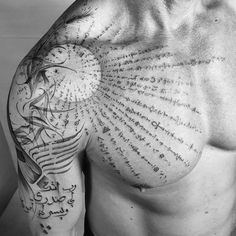 balazsbercsenyi tribute to the ancient alchemy of the arabic culture 🌙 Torso Tattoos, Line Tattoos, Body Art Tattoos, Tattoos For Guys, Sleeve Tattoos, Modern Tattoos, Unique Tattoos, Beautiful Tattoos, Small Tattoos