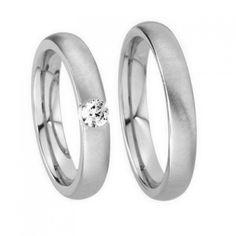 10k White Gold Satin His Hers Wedding Rings 0.05 Carat Round Diamond 3mm 03550