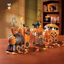 3pc Pumpkin Express Train Halloween Party Home Table Decorative Accessories Set