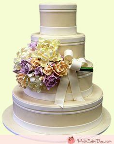 Sugar Flower Bouquet Wedding Cake by Pink Cake Box