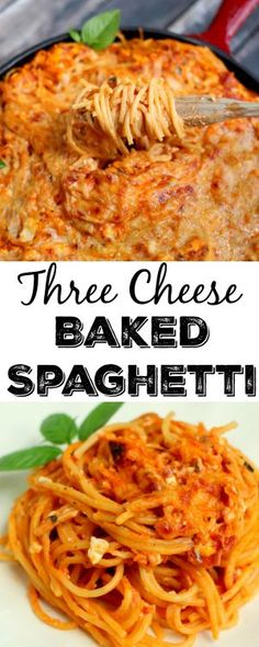 This three cheese baked spaghetti is the best pasta dish I have ever made. It is our potluck favorite.