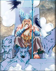 Odin é considerado o rei dos deuses, segundo a mitologia nórdica. É considerado o deus da guerra, da morte, da caça, da sabedoria, da poesia e da magia. Filho do deus Bor e da gigante Bestla, juntamente com seus irmãos Vili e Ve, criou o mundo a partir da morte do gigante Ymir.