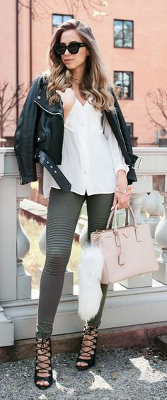 Army Green Slimmed Pants Casual Chic Style by Kenzas
