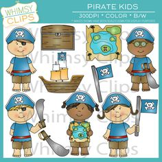 Cute pirate kids clip art pack. Premium high resolution clip art for teachers, personal use and more.