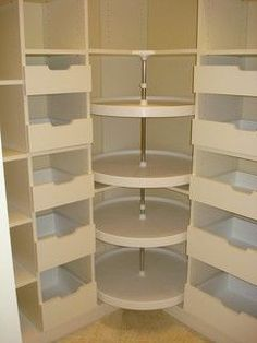 Lazy susan in the walk in closet dressing room, for shoes, purses etc. Great id… Lazy susan in the walk in closet dressing room, for shoes, purses etc. Master Closet, Closet Bedroom, Closet Space, Wardrobe Closet, Bathroom Closet, Deep Closet, Attic Closet, Bathroom Mirrors, Wardrobe Ideas
