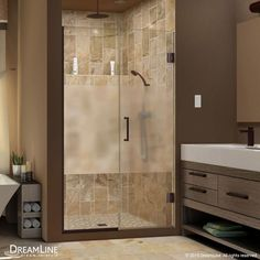 """DreamLine SHDR-244557210-HFR Unidoor Plus 72"""" High x 46"""" Wide Hinged Frameless S Oil Rubbed Bronze Showers Shower Doors Hinged"""