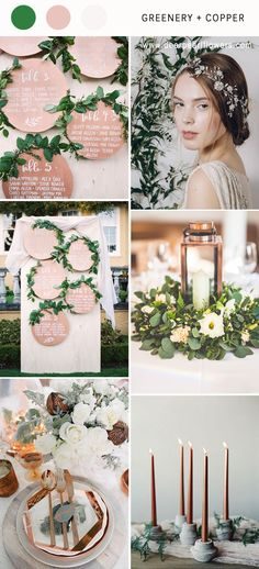 Greenry and copper vintage wedding color ideas