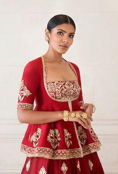 Dense Red Raw Silk Lehenga   Manish Malhotra Raw Silk Lehenga, Manish Malhotra, Work Jackets, Embroidered Blouse, Cold Shoulder Dress, Tulle, Women Wear, Sequins, Saree