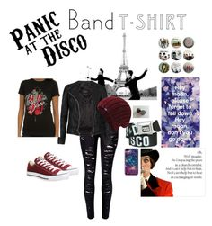 Panic at the Disco! by bellissimoangelo366 on Polyvore featuring polyvore, fashion, style, AllSaints, Converse, Keds, clothing, bandtshirt and bandtee