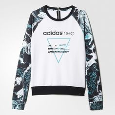 adidas Studio Logo Marble Print Sweatshirt ($40) ❤ liked on Polyvore featuring tops, hoodies, sweatshirts, marble top, adidas, logo sweatshirts, adidas tops and white marble top