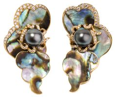 Exotic colors emanate from the mother-of-pearl nacre of abalone. These sea reef and rock creatures build the shells as they grow, with rings of colors gray, blue, green, pink and gold. This earring has assortment of handcrafted jewelry incorporating parts of these shell in various settings. 18K gold, diamonds and gray baroque pearls are used to complete the design.