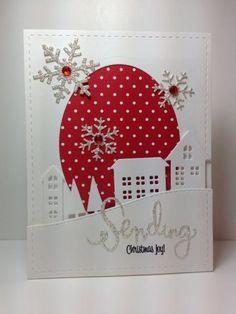 """christmas village dies and """"sending"""" die: Simon Says Stamp, by beesmom - Cards and Paper Crafts at Splitcoaststampers Christmas Paper Crafts, Homemade Christmas Cards, Christmas Cards To Make, Xmas Cards, Handmade Christmas, Holiday Cards, Victorian Christmas, Christmas Christmas, Vintage Christmas"""