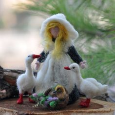Needle felted Waldorf Goose Gerl- wool needle felted  doll--needle felt by Daria Lvovsky