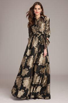 Mother-of-the-Bride dress by Teri Jon: Balck and gold silk shirtdress gown Stylish Dresses, Elegant Dresses, Beautiful Dresses, Fashion Dresses, Tulle Dress, Silk Dress, Dress Up, Evening Dresses, Prom Dresses