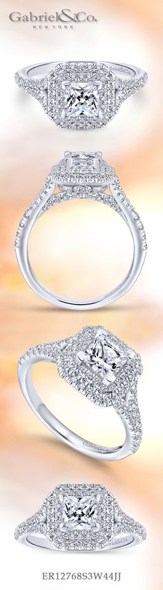 Gabriel & Co. - Voted #1 Most Preferred Bridal Brand.   From the double halos to the split shank band, this magnificent princess cut engagement ring is dripping with diamonds.