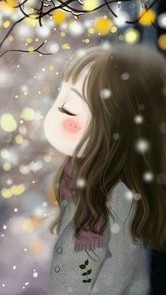 (notitle) - Art, paintings and illustrations. Cute Girl Wallpaper, Kawaii Wallpaper, Iphone 6 Plus Wallpaper, Iphone Wallpapers, Girly Drawings, Chibi Girl, Beautiful Anime Girl, Cute Chibi, Cute Cartoon Wallpapers