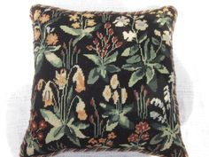 Arts and Crafts design cushion worked by hand in wools in tent-stitch. Art And Craft Design, Design Crafts, Tent Stitch, Oriental, Arts And Crafts, Cushions, Textiles, Wool, Throw Pillows