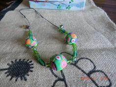 collana con sfere di pasta polimerica e murrine con perle di vetro
