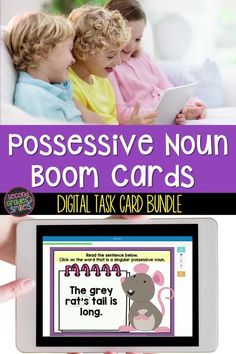 Looking for digital resources to practice possessive nouns? This Boom Card bundle includes three activities to help students practice identifying and using singular possessive nouns and plural possessive nouns in sentences. Use the different activities to differentiate practice, or at varying times in your students' understanding of this topic. Singular Possessive Nouns, Teaching Vocabulary, English Language Arts, Differentiation, Deck Of Cards, Task Cards, Reading Comprehension, Teaching English, Second Grade