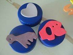 Bottle cap ink stamps...