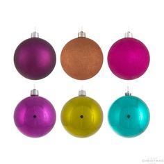 Shatterproof Christmas baubles XXXL 25cm multi colour mix 6 pcs