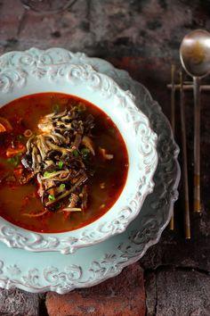 육개장 Spicy Korean Beef Soup with Smoky Baby Oyster Mushrooms {Yukgaejang}