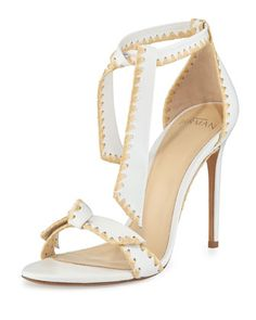 Clarita+Whipstitch+Leather+Sandal,+White/Natural+by+Alexandre+Birman+at+Neiman+Marcus.
